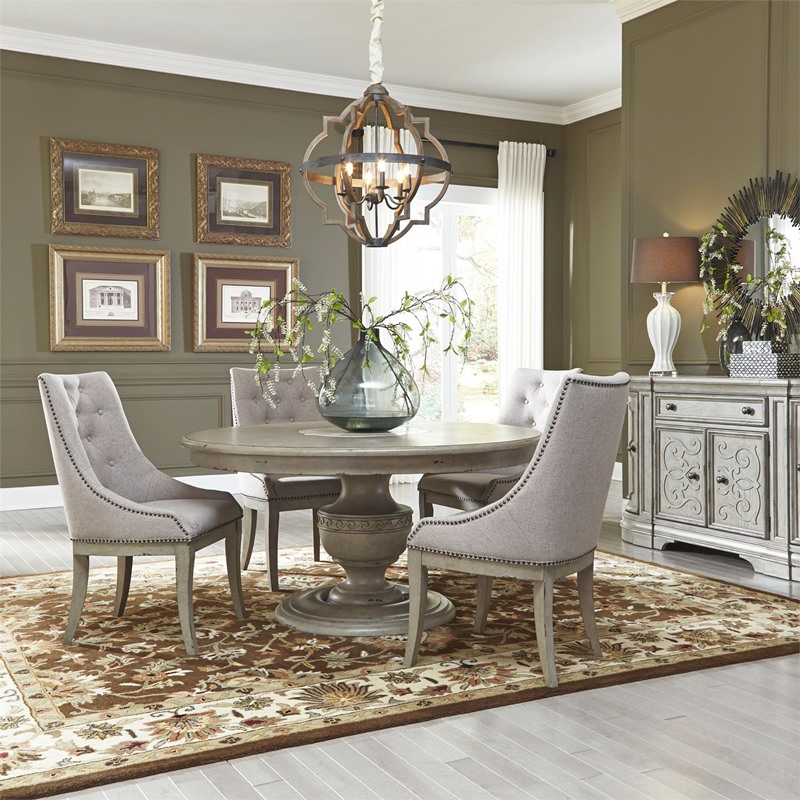 Liberty | 634-DR-O5PDS Grand Estates Round Formal Dining Room Set with  Upholstered Chairs | Dallas Designer Furniture
