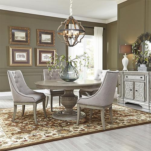 Grand Estates Round Formal Dining Room Set with Upholstered Chairs