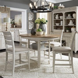 Farmhouse Reimagined Counter Height Dining Room Set with Upholstered Seats