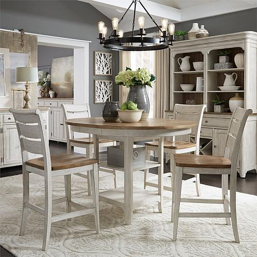 Farmhouse Reimagined Counter Height Dining Room Set with Wooden Seats
