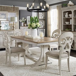 Farmhouse Reimagined Dining Room Set with Splat Back Chairs