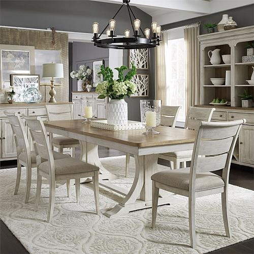 Farmhouse Reimagined Dining Room Set with Ladder Back Chairs