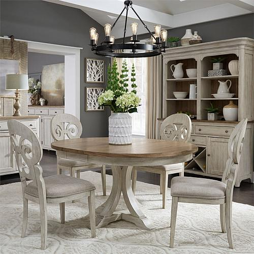 Farmhouse Reimagined Round Dining Room Set with Splat Back Chairs