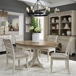 Farmhouse Reimagined Round Dining Room Set with Ladder Back Chairs