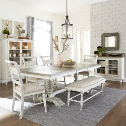 Whitney Dining Room Set with Trestle Base and Bench