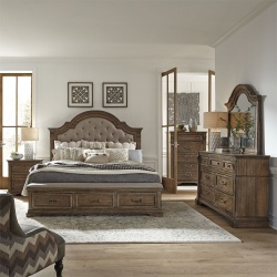 Haven Hall Storage Bedroom Set with Upholstered Headboard