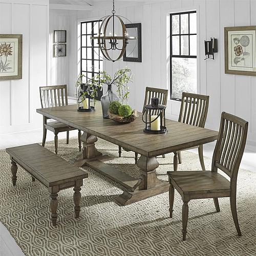 Harvest Home Dining Room Set with Trestle Base and Bench