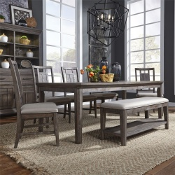 Artisan Prairie Leg Table Dining Room Set with Lattice Chairs and Bench