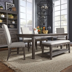 Artisan Prairie Leg Table Dining Room Set with Upholstered Chairs and Bench