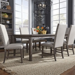 Artisan Prairie Leg Table Dining Room Set with Upholstered Chairs