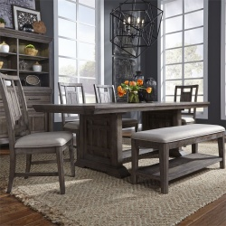 Artisan Prairie Trestle Table Dining Room Set with Lattice Chairs and Bench
