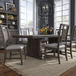 Artisan Prairie Trestle Table Dining Room Set with Lattice Chairs