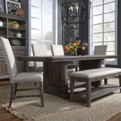 Artisan Prairie Trestle Table Dining Room Set with Upholstered Chairs and Bench