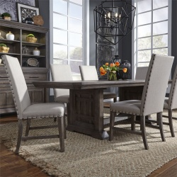 Artisan Prairie Trestle Table Dining Room Set with Upholstered Chairs
