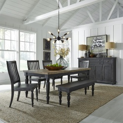 Harvest Home Dining Room Set with Bench in Chalkboard