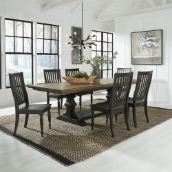 Harvest Home Dining Room Set with Trestle Base in Chalkboard