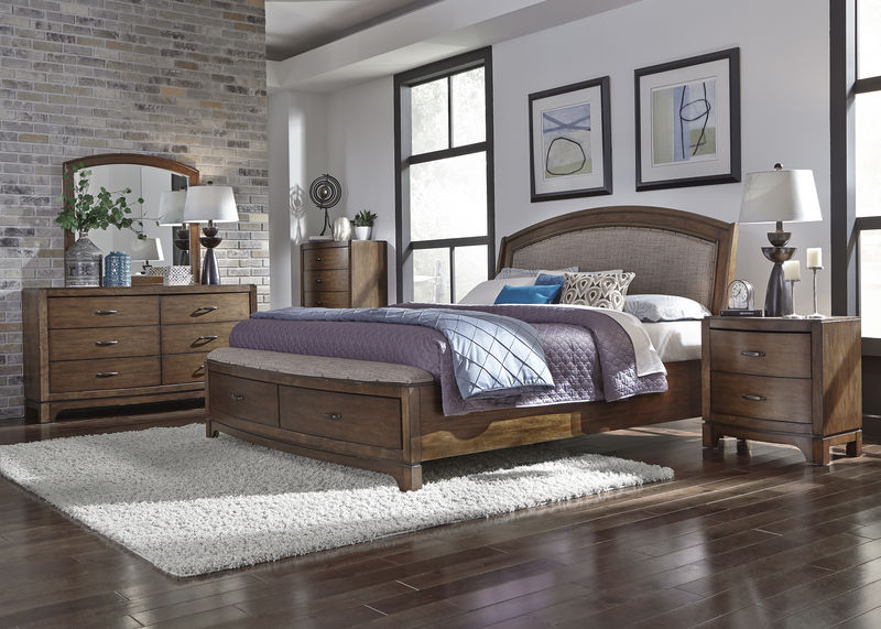 Avalon III Bedroom Set with Storage Bed and Upholstered Headboard