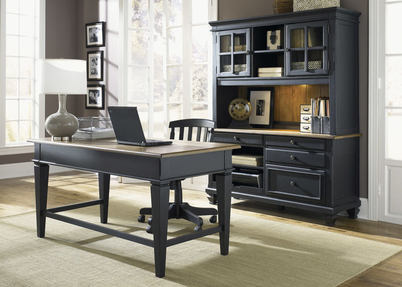 Bungalow Home Office Set in Driftwood/Black