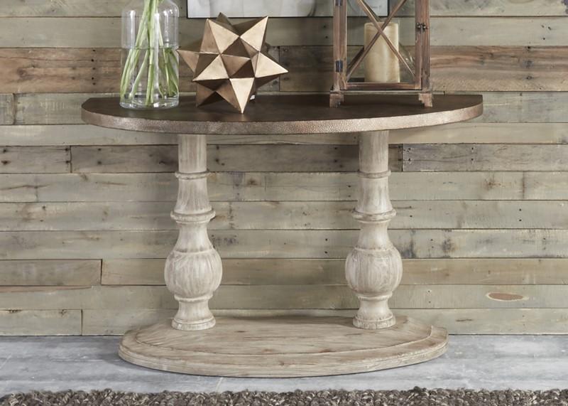 Alamosa Metal and Wood Round Coffee Table Set