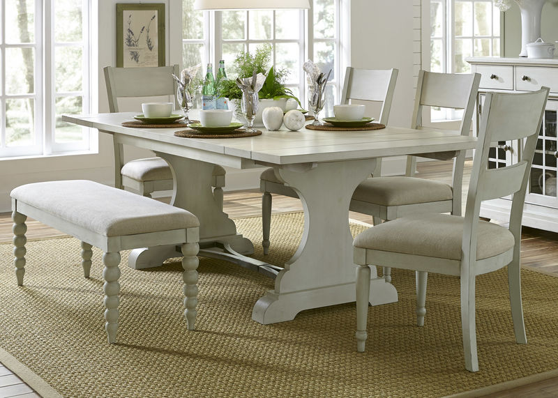 Harbor View III Dining Room Set With Slat Back Chairs And Bench