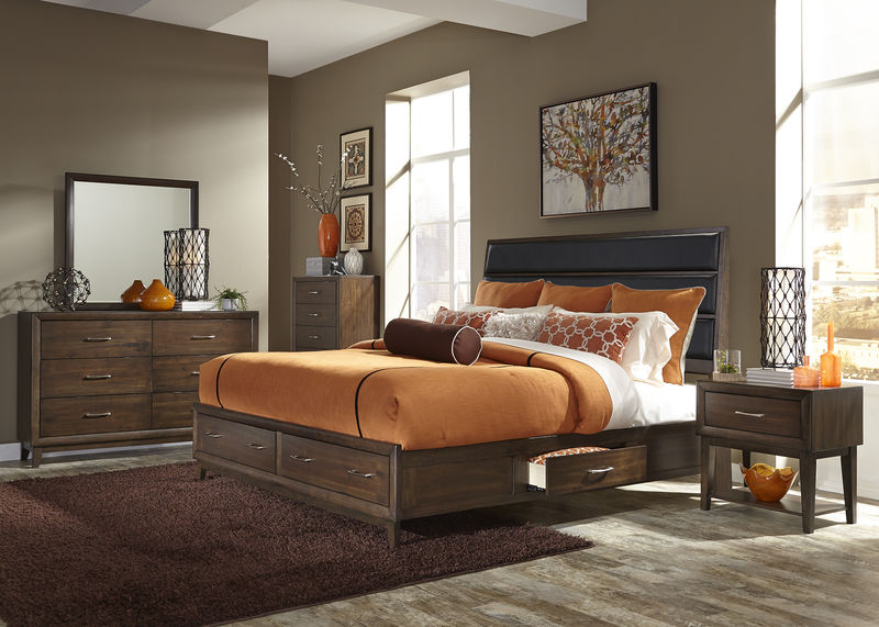 Hudson Square Bedroom Set in Black with Storage Bed