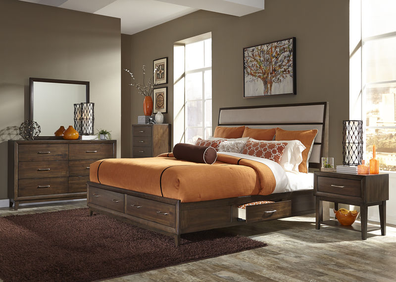 Hudson Square Bedroom Set in Linen with Storage Bed