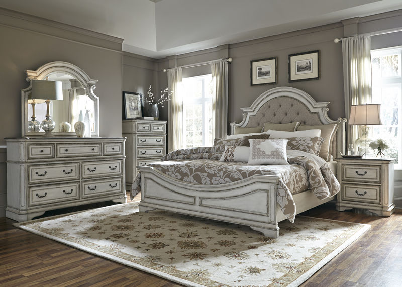Magnolia Manor Bedroom Set with Upholstered Headboard