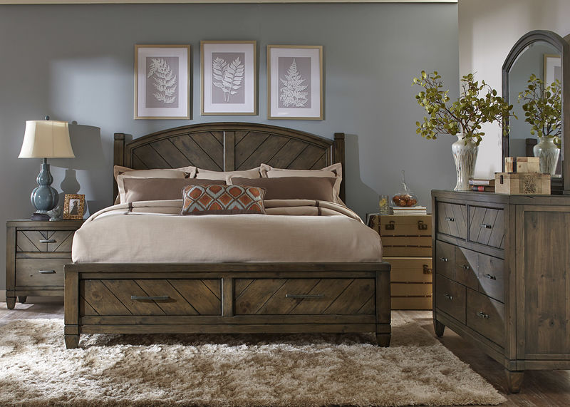 Modern Country Bedroom Set with Storage Bed