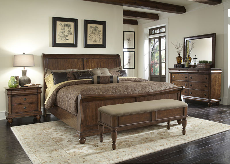 Rustic Traditions Bedroom Set with Sleigh Bed
