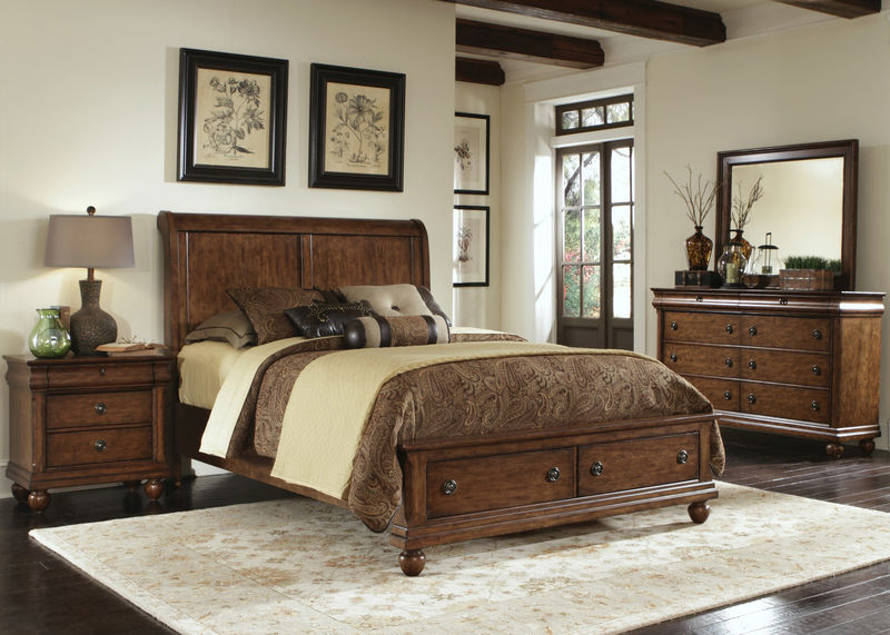 Rustic Traditions Bedroom Set with Storage Bed