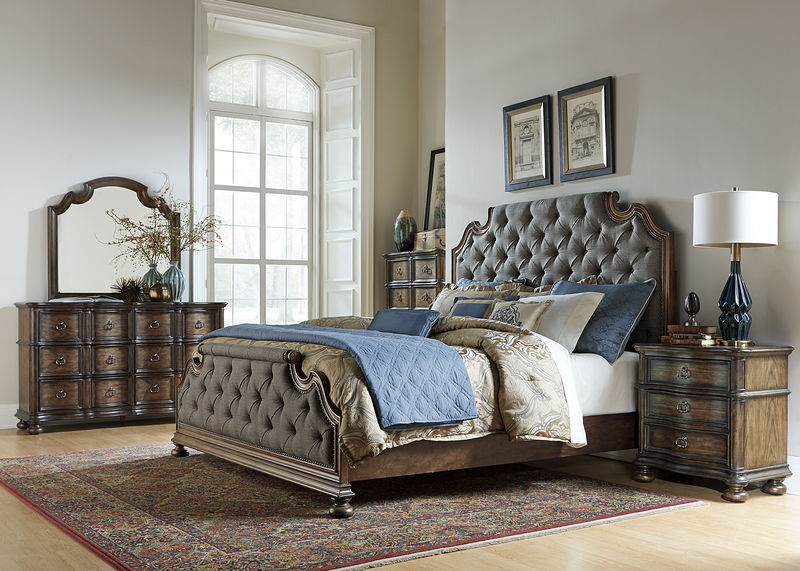Tuscan Valley Bedroom Set with Upholstered Bed