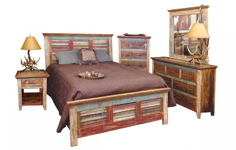 Cabana Louvered Multicolor Rustic Bedroom Set