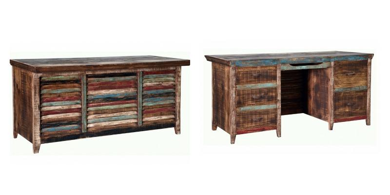 Cabana Louvered Multicolor Rustic Executive Desk