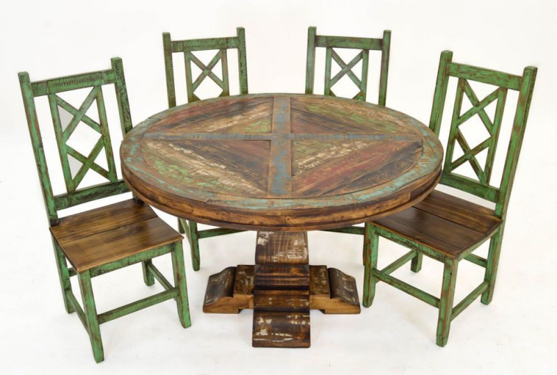 Lc Mes 03 Cabana Multicolor Rustic Round Dining Room Set
