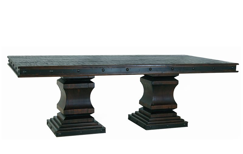Gran Hacienda Double Pedestal Table with Cowhide Chairs