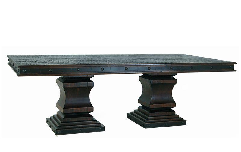 Gran Hacienda Double Pedestal Table with Cowhide Chairs