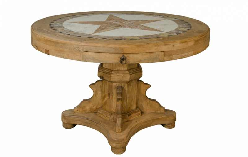 Rustic Round Pedestal Table with Marble and Large Star