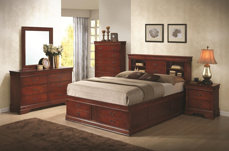 Louis Philippe Bedroom Set with Storage Bed