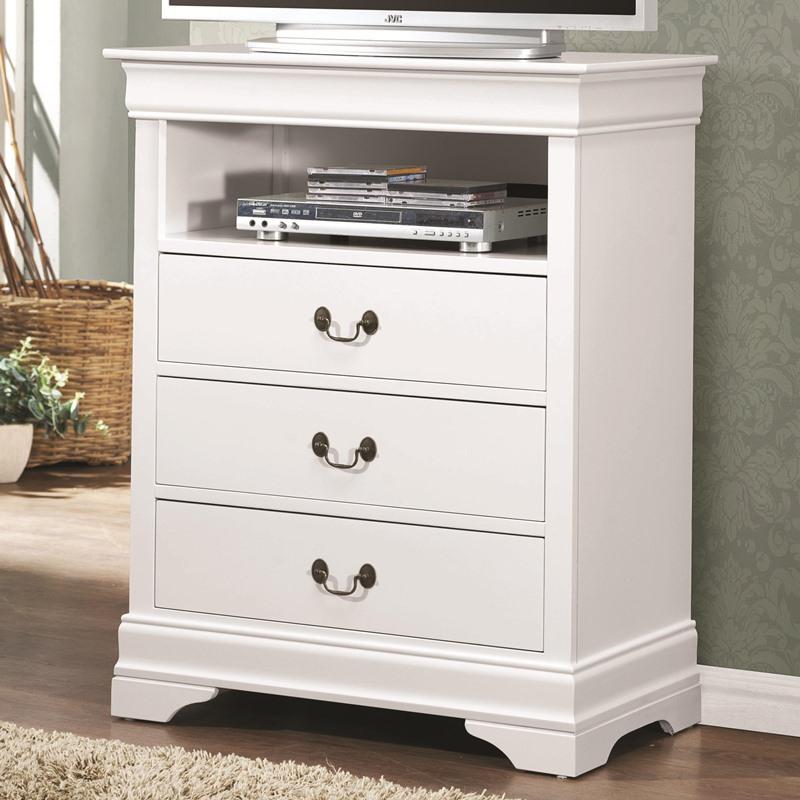 Dallas designer furniture louis philippe bedroom set in white for White media chest for bedroom
