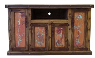 Luna Rustic TV Stand with Copper Panels