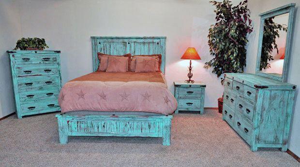 Sea Foam Painted Reclaimed Wood Rustic Bedroom Set