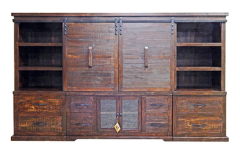 4 Piece Barn Door Entertainment Center