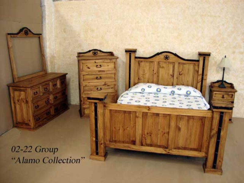 Dallas Designer Furniture Mansion Rustic Bedroom Set With Hidden Gun Storage