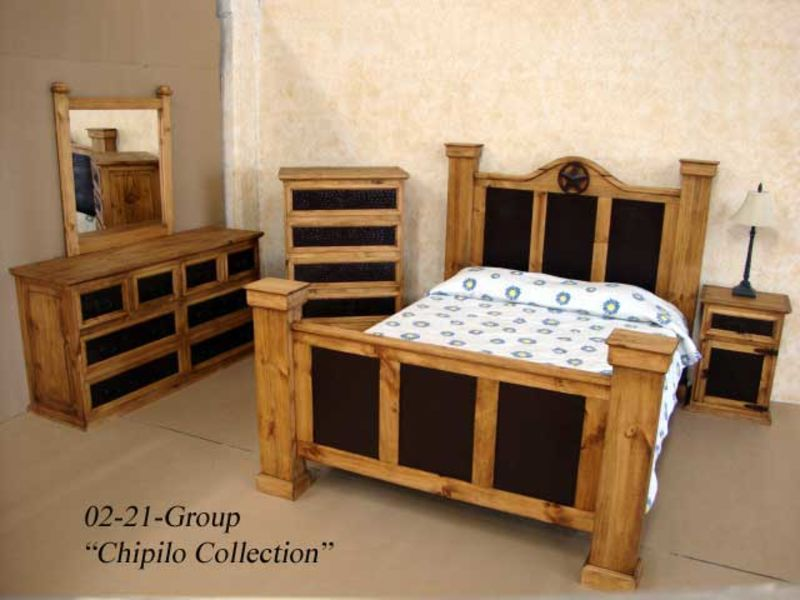 Chipilo Rustic Bedroom Set with Iron Accents
