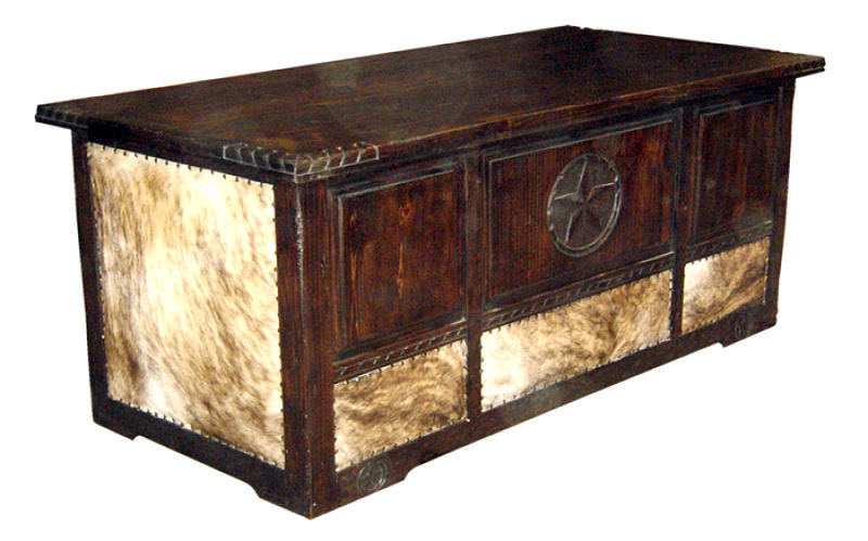 Cowhide Rustic Desk with Rope Accents