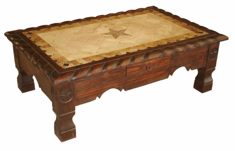 Dark Rope, Star and Marble Rustic Coffee Table Set