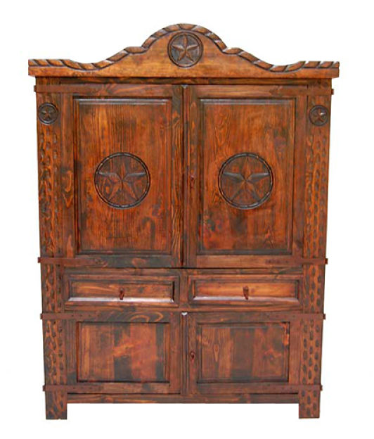 Dark Rope Rustic Armoire with Stars