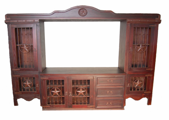 Dark Rustic Entertainment Center with Iron Accents