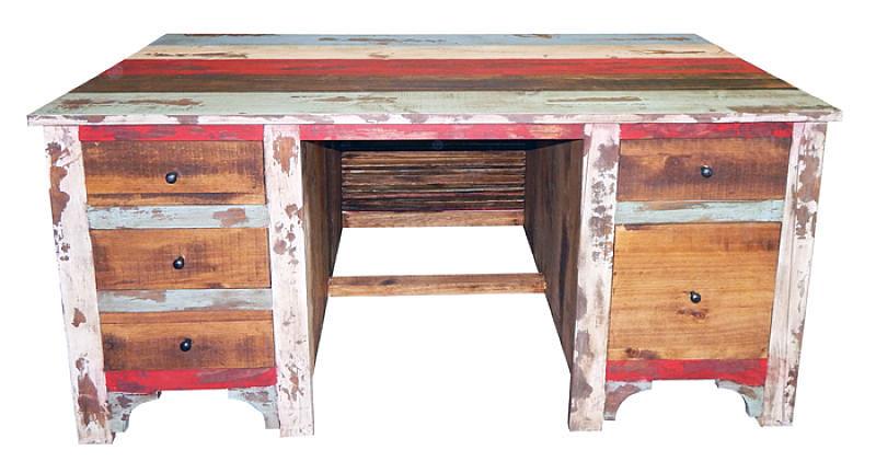 Multicolor Louvered Rustic Desk