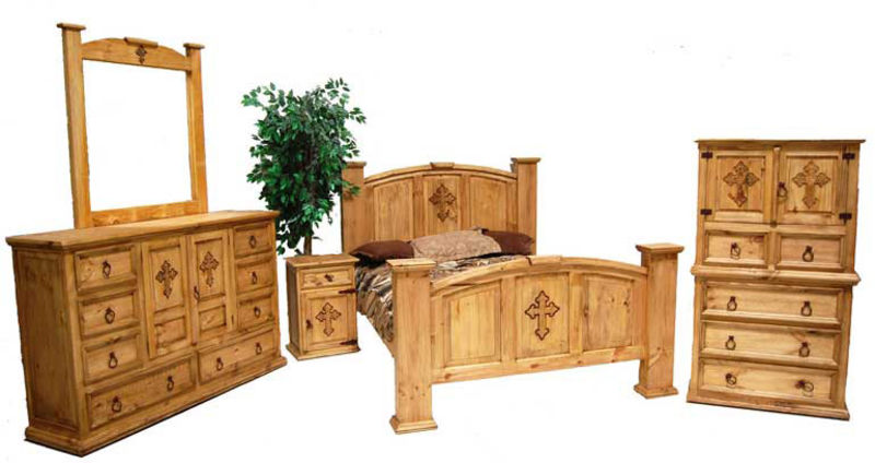 Mansion Rustic Bedroom Set With Cross